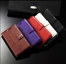 Crazy horse flip wallet leather case for Samsung galaxy core2 G355H, case with 3 card holders