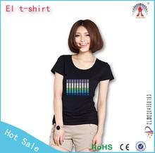 China factory led t shirt custom logo sound activated led t shirt el music t shirt