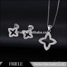 ebay elegant bling bling star 925 sterling silver jewlery set including earrings,pendant