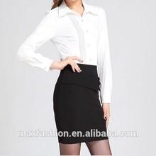 Desgaste do escritório mais recente saia preta e blusa branca set