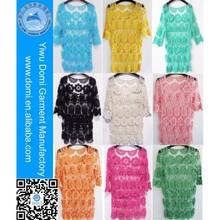 Cotton crochet beach dress,hot selling beach cover up,tunique beachwear