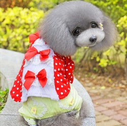 Order dogs, sweet dot pet blouse with bow tie, two colors pet dog summer clothes