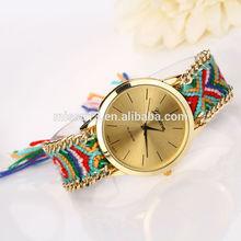 Women popular cheap 2014 new design geneva Weaving friendship watch