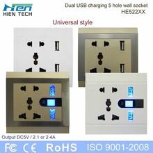 Brand new USB wall switch socket 2 usb ports output 2.1/2.4A unicersal style WALL SOCKET