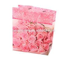 pink rose flower printed pp bag shopping girls favorites gifts packing bag all over the world eco bag manufacturer