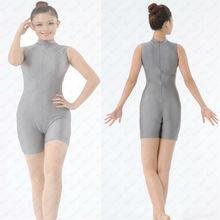 China Sleeveless zip front turtle neck Unitard with short legs