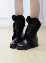Fox Fur Women's Boots Half Knee Snow Boots Flats Platform Shoes zipper Winter fox fur boots