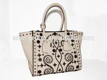 Latest Speical Beige Floral Stitching PU Ladies Handbag