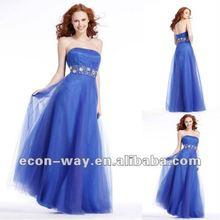 Top seller soft tulle floor length zipper back royal blue evening dress 2012 long