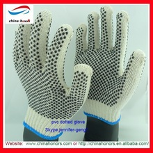 Double Sided pvc dot palm cotton glove/Cotton Gloves With PVC Dots/pvc dotted knitted gloves