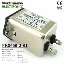 7A,120/250VAC, PE8600-3-01 green power entry rfi filters, EMI/RFI Filter - solder mount C