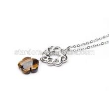 Dream Catcher Tigereye Gemstone Necklace Flower Pendant