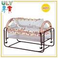 luxos do bebê da princesa cama anexado baby cama de ferro