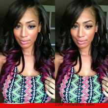 Purple Hair Full Lace Wig Loose Wave Malaysian Virgin Human Hair Full Lace Wigs With Baby Wave