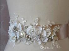 2015 Free Shipping New Fashion Luxury Beaded Pearls Handmade Flower Applique Wedding Sashes Bridal Belts For Wedding Dresses J