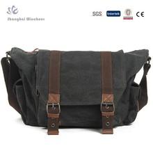 Men's casual canvas PU Leather Messenger bag