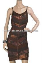 V-neckline bandage dress Rayon spandex colors combination of dresses