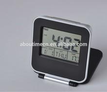 2014 New LCD folding travel digital temperature humidity alarm clock