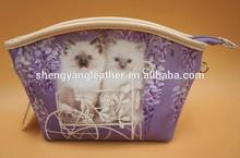 wholesale lovely cat printings ladies PU cosmetic bags