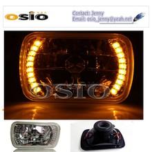 5' SBMC CRYSTAL GLASS Yellow LED HALO RING 12V/24VAuto Halogen Semi Sealed Beam Auto Halogen Lamp H4 or HID