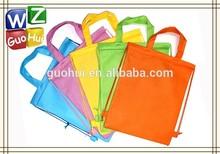 Reusable students non woven drawstring backpack bag, non woven drawstring bag with handles