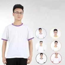 Combed cotton contrast color pure color T shirt wholesale
