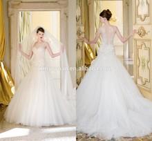 vintage noble sheer back Latest design wedding gown bride dress wedding dresses with sleeves CYAW-053