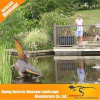 dinosaur park life-size animatronic dinosaur, animatronic dinosaur costume hides leg