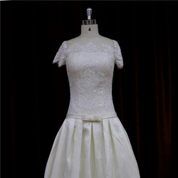 Casual heavy beaded gorgeous sweetheart long sleeve wedding gown