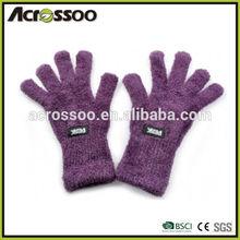 Purple polyester micro fleece magic gloves,winter soft cashmere custom label