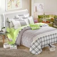 Chinese manufacturer plaid pattern 4 pcs bedding set include flat sheet duvet cover pillow case queen size bedding set