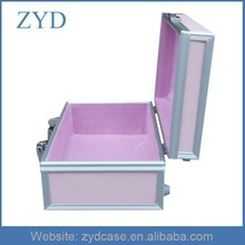Pink Aluminum/Acrylic/ABS/Leather Cosmetic Jewelry Organizer,Aluminum Case Storage ZYD-LX120302