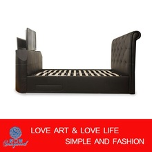 OEM new modern bedroom furniture, cheap TV bed upholstered with leather, PU or Fabric, model TV-14