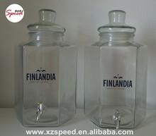 11L Hexagon Shape Juice Glass Jar Glass Mug with Lid and Tap 4021T-11L