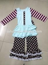 wholesale girls boutique winter ruffle sets wholesale baby girls mustard pie clothing sets organic cotton polka dots set