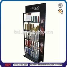 TSD-M3072 supermarket shampoo floor display stand/ beauty salon retail display shampoo/ metal glass display shelf