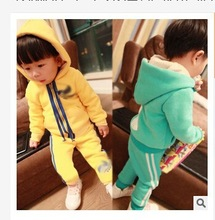 Autumn fall fleece casual style pure colour children's clothing sets thickness girls and boys thickness hoodies suit (M40066A)