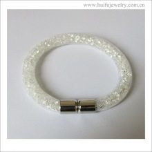 new arrival stainless steel magnet locket white resin bracelet
