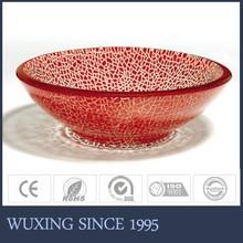 Red color white crackle pedestal wash basin