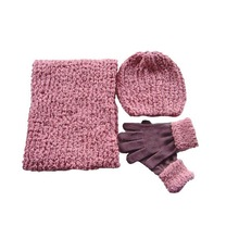 2015 customized free wholesale knitted scarf beanie and glove sets with wholesale price