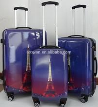 Paris Eiffel Tower ABS printed hard luggage set bag spinner luggage bag