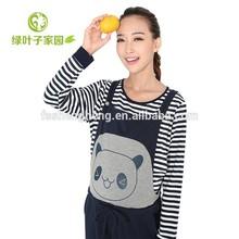 AK202 wholesale long sleeve 100% cotton maternity jumpsuits striped breastfeeding t-shirt