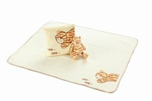 Plush stuffy toy tiger with embroidery baby blanket and cushion in gift set