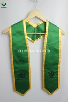 Green Embroidered Graduation Stoles/ Sashes With Gold Rim