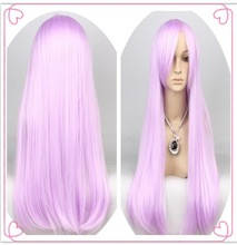 Hot sale fashion cheap synthetic hair long straight pink cosplay costume wigs