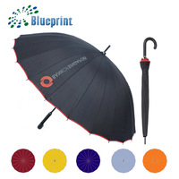 24K Ribs Waterproof Unique Mens Stick Umbrella Custom Promotional Items