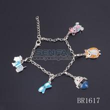 2015 dog owl sunglass charm alloy charm bracelet thin silver chain bracelet men's silver bracelet