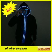 top selling el hoodie glow/electroluminscent hoodie/glow hoodi