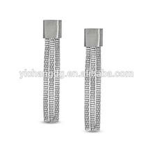 Mesh Dangle Drop Earrings in Stainless Steel