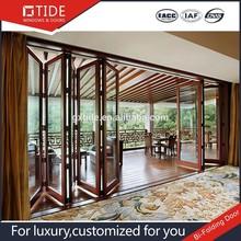 Sliding doors, aluminum and wood sliding Bi-Folding door with hollow low-e glass